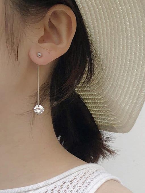 XBOX 925 Sterling Silver Rhinestone Tassel Minimalist Threader Earring 1