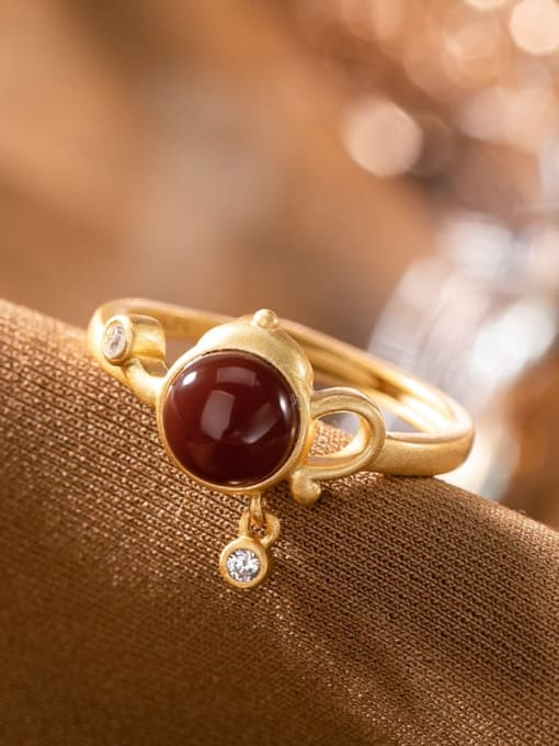 DEER 925 Sterling Silver Carnelian Irregular Vintage Band Ring