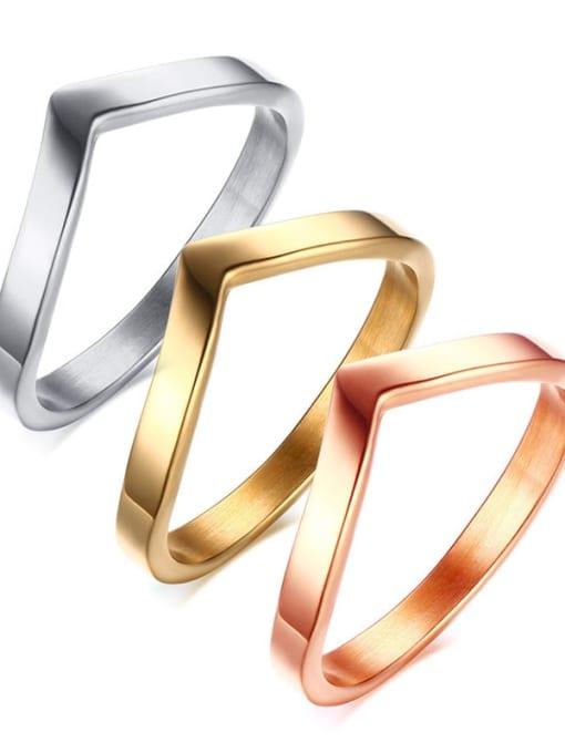 CONG Titanium Steel Geometric Minimalist Band Ring 0