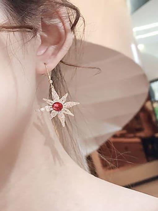 Luxu Brass Cubic Zirconia Star Minimalist Hook Earring 2