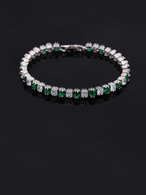 Green 18.2cm Brass Cubic Zirconia Geometric Classic Bracelet