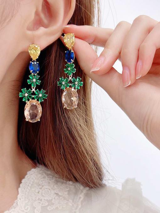 Luxu Brass Cubic Zirconia Flower Ethnic Drop Earring 1