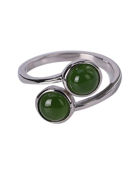 DEER 925 Sterling Silver Jade Irregular Vintage Band Ring 2