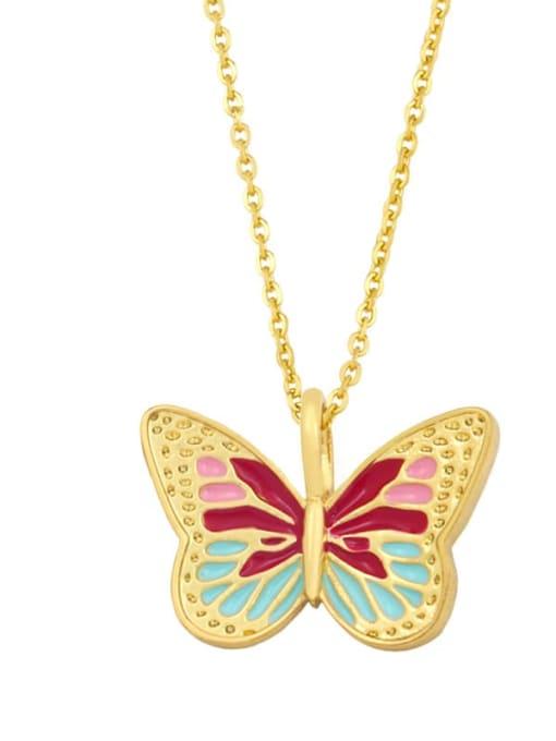 A (red) Brass Enamel Butterfly Minimalist Necklace