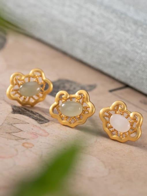 DEER 925 Sterling Silver Jade Irregular Vintage Stud Earring