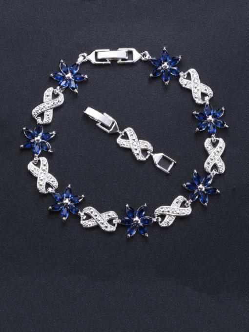 L.WIN Brass Cubic Zirconia Flower Luxury Bracelet 2