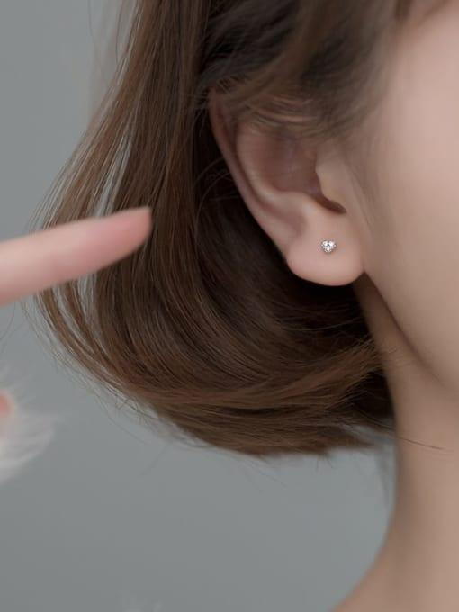 Rosh 925 Sterling Silver Cubic Zirconia Heart Minimalist Stud Earring 3