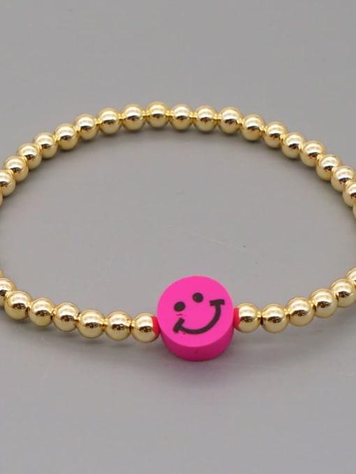 QT B200203B Stainless steel Polymer Clay Smiley Bohemia Beaded Bracelet