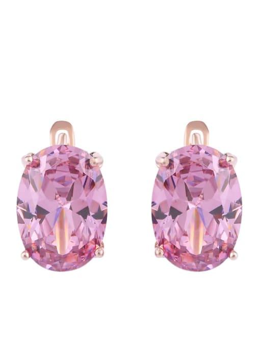 Pink Alloy Glass Stone Rosary Bohemia Stud Earring