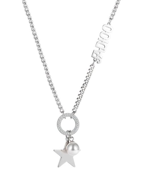 1857 Steel Necklace Titanium Steel Imitation Pearl Letter Hip Hop Necklace