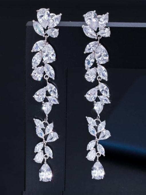 L.WIN Brass Cubic Zirconia Flower Luxury Drop Earring 0