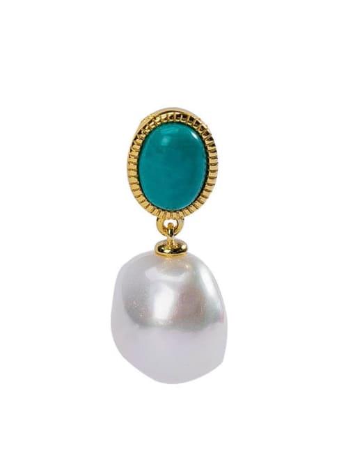 DEER 925 Sterling Silver Turquoise Irregular  Vintage Pendant 4