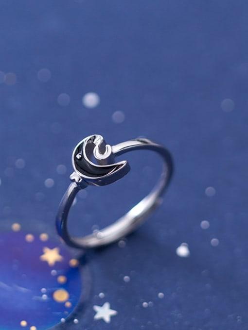 Rosh 925 Sterling Silver Enamel Black Moon Minimalist Band Ring 1