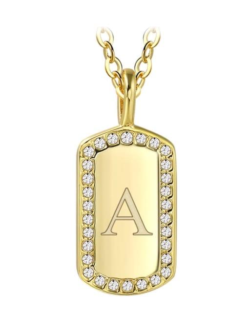 Gold letter a Brass Rhinestone Letter Minimalist Necklace