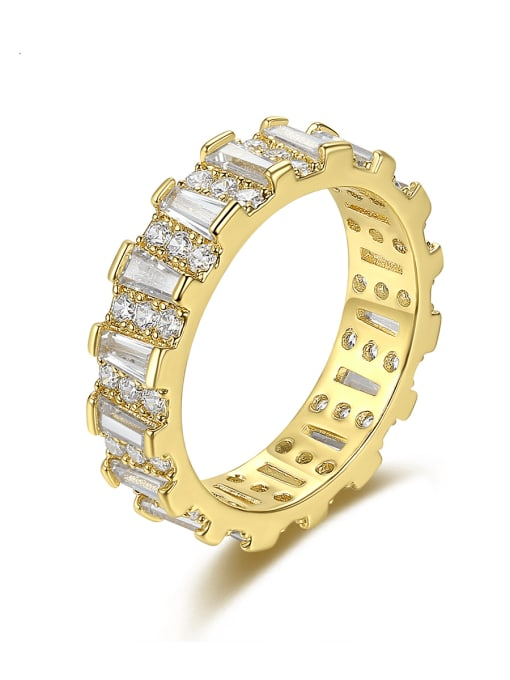 BLING SU Brass Cubic Zirconia Geometric Minimalist Band Ring