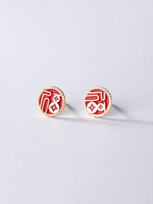 Rosh 925 Sterling Silver Cubic Zirconia Enamel Round Ethnic Stud Earring 2