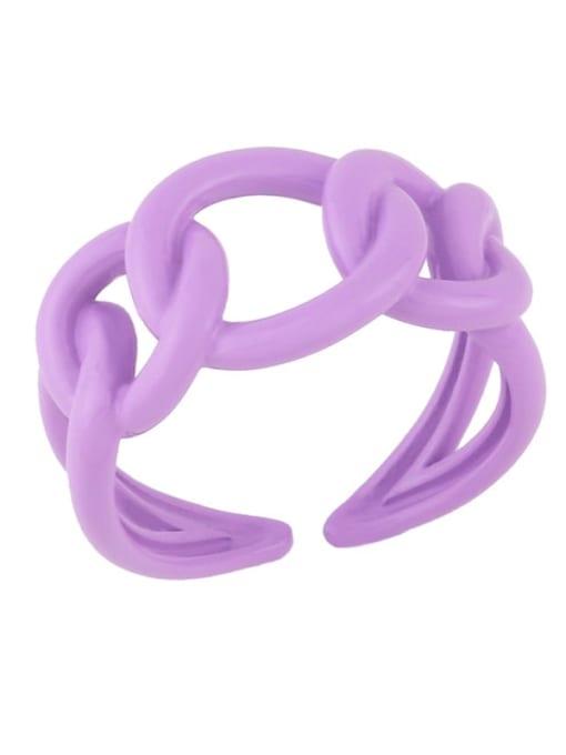 Light  purple Brass Enamel Hollow Geometric Minimalist Band Ring