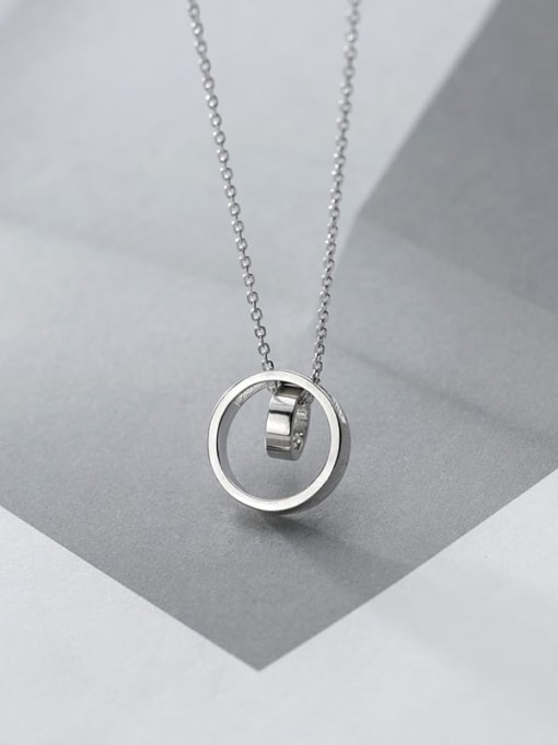 Rosh 925 Sterling Silver Rhinestone Geometric Minimalist Pendant Necklace 0