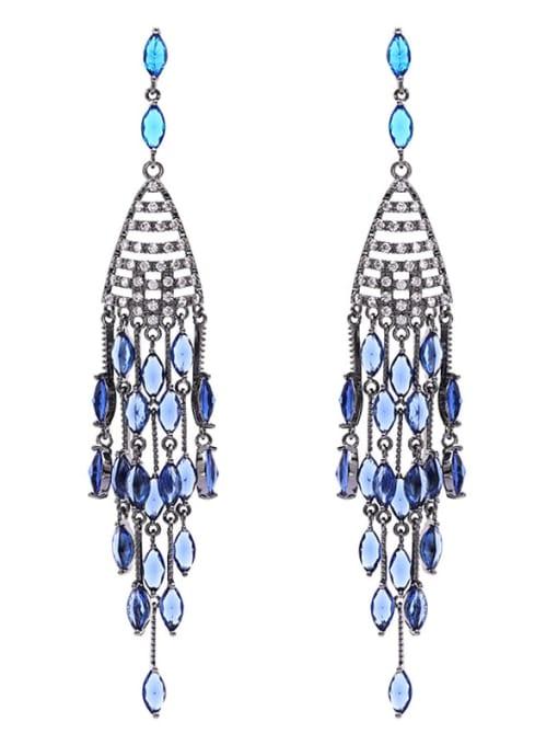 Luxu Brass Cubic Zirconia Tassel Ethnic Drop Earring