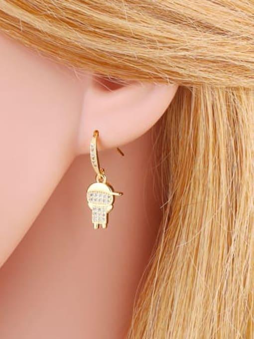 CC Brass Cubic Zirconia Angel Boy Vintage Huggie Earring 1