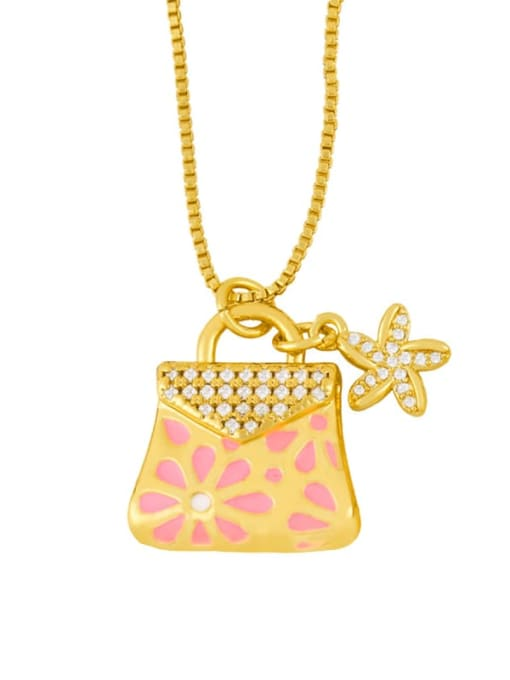 CC Brass Rhinestone Enamel Geometric Minimalist Necklace