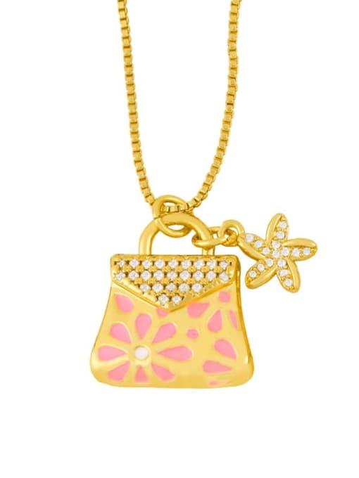 Pink Brass Rhinestone Enamel Geometric Minimalist Necklace