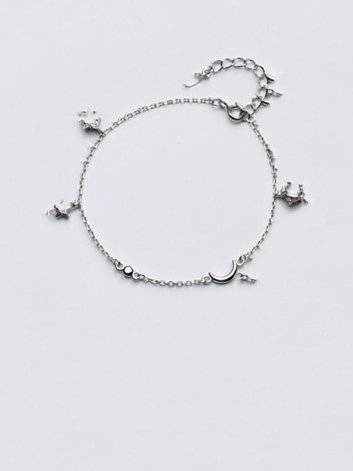 Rosh 925 Sterling Silver Cubic Zirconia   Minimalist Star Moon Bracelet 0