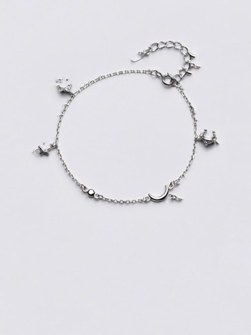 Rosh 925 Sterling Silver Cubic Zirconia   Minimalist Star Moon Bracelet