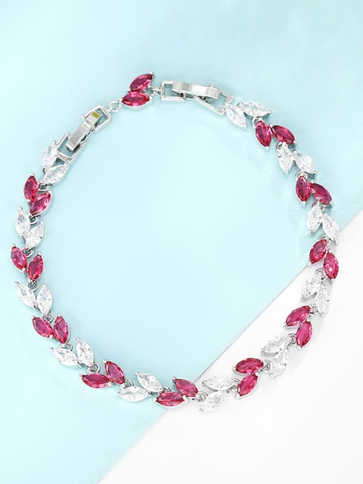 Platinum gold rose red white zirconium Brass Cubic Zirconia Multi Color Leaf Dainty Bracelet
