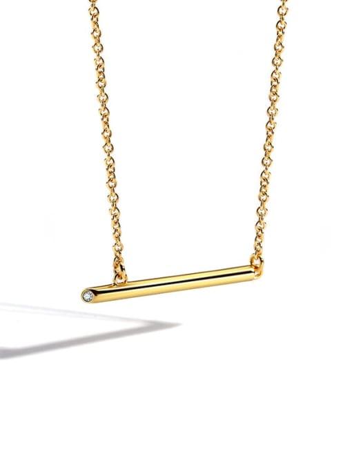 golden Brass Rhinestone Geometric Minimalist Pendant Necklace