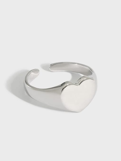 DAKA 925 Sterling Silver Heart Minimalist Band Ring 0