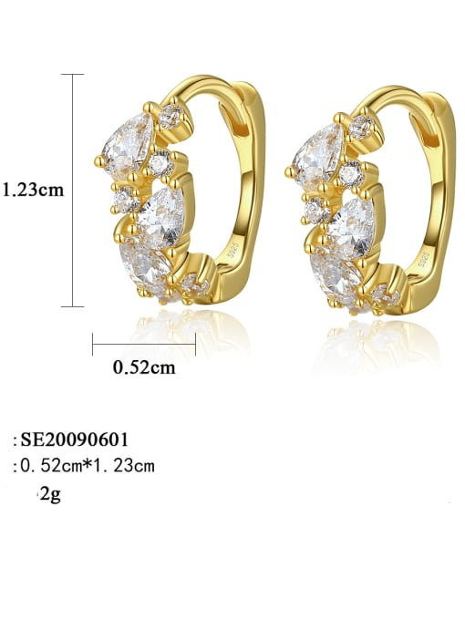 CCUI 925 Sterling Silver Cubic Zirconia Geometric Trend Huggie Earring 4