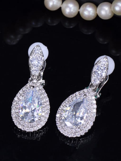 white Brass Cubic Zirconia Water Drop Luxury Drop Earring