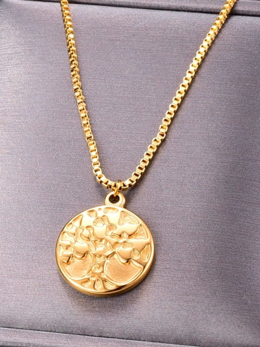 A TEEM Titanium Round tree Minimalist pendant Necklace 0