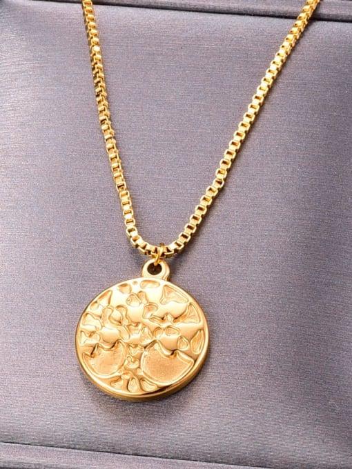 A TEEM Titanium Round tree Minimalist pendant Necklace