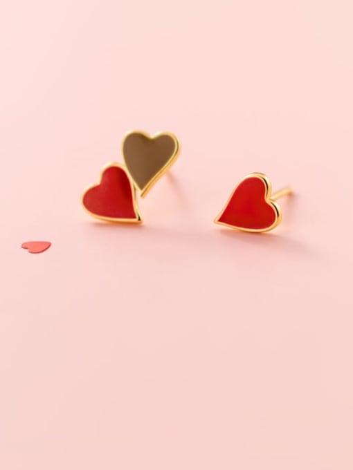 Rosh 925 Sterling Silver Enamel Heart Minimalist Stud Earring 0