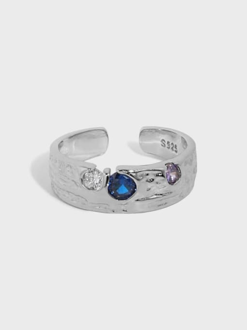 DAKA 925 Sterling Silver Cubic Zirconia Irregular Vintage Band Ring 2