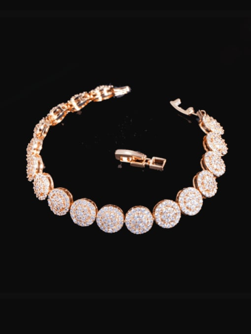 gold Brass Cubic Zirconia Round Luxury Bracelet