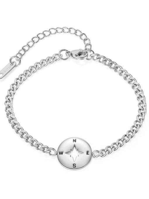 Open Sky Titanium Steel Heart Minimalist Link Bracelet 3