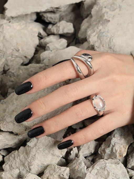 DAKA 925 Sterling Silver Crystal Irregular Vintage Band Ring 2