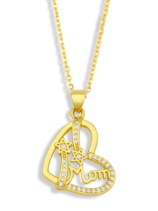 CC Brass Cubic Zirconia Mom Heart Minimalist Necklace 1