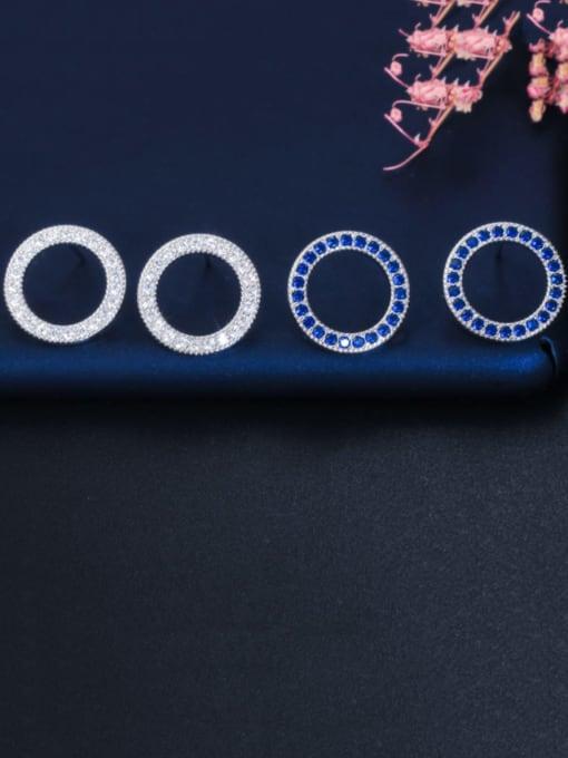 L.WIN Brass Cubic Zirconia Round Luxury Stud Earring