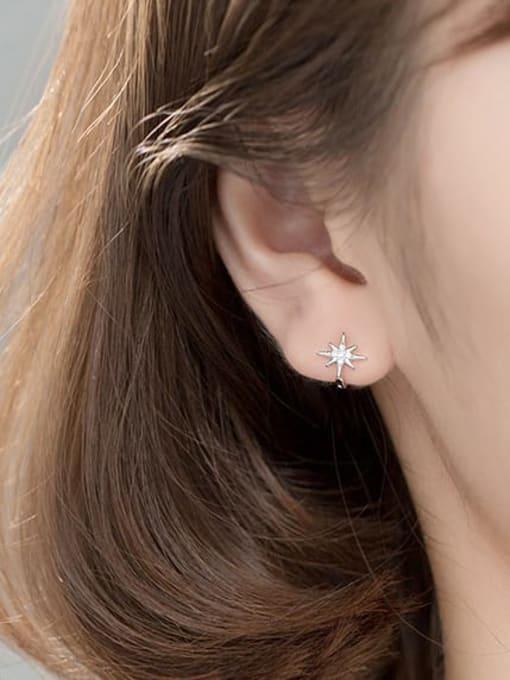 Rosh 925 Sterling Silver Cubic Zirconia Flower Minimalist Huggie Earring 2