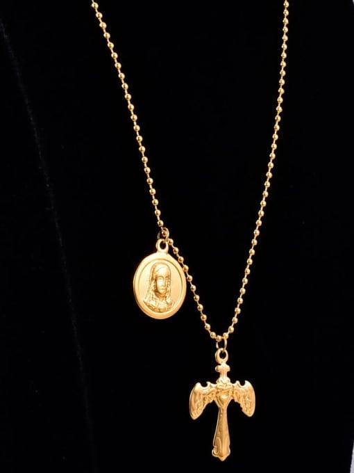 A TEEM Titanium Letter Vintage  cross Regligious Necklace 1