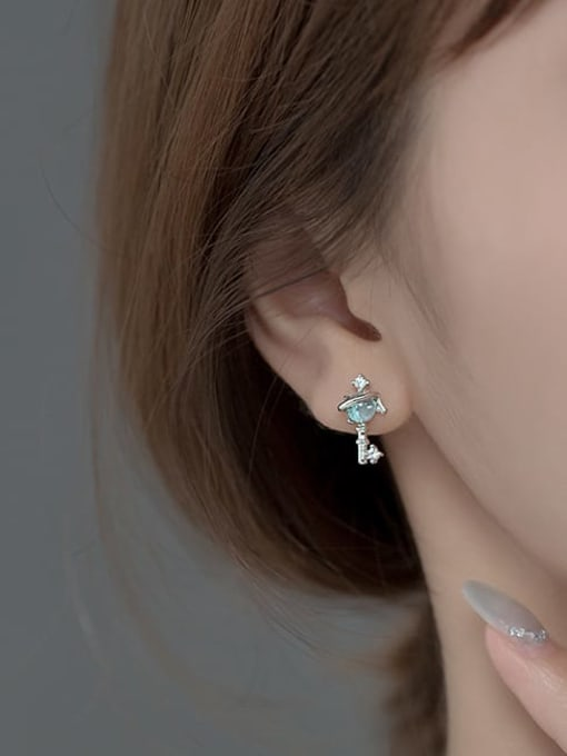 Rosh 925 Sterling Silver Cubic Zirconia Irregular Minimalist Stud Earring 2