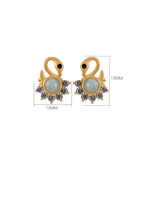 DEER 925 Sterling Silver Jade Swan Cute Stud Earring 3