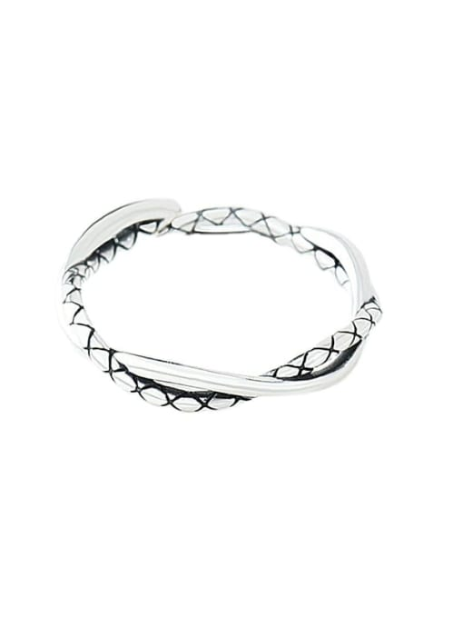 XBOX 925 Sterling Silver Twist Irregular Vintage Band Ring 2