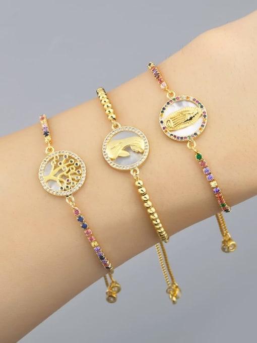 CC Brass Shell Round Minimalist Beaded Bracelet