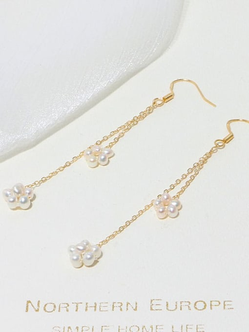 RAIN Brass Freshwater Pearl Geometric Minimalist Hook Earring 3
