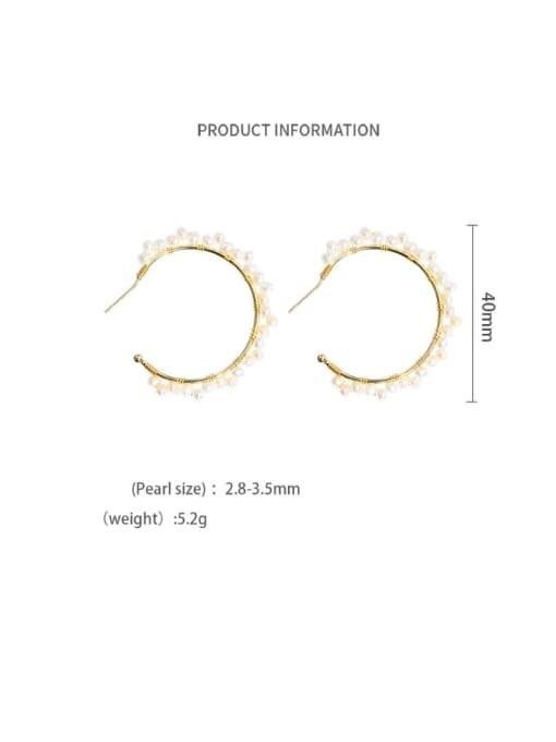 gold Brass Freshwater Pearl Geometric Minimalist C shape Drop Earring